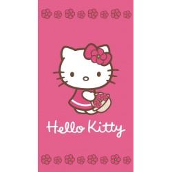 Ręcznik Hello Kitty 50x90 Kwiatki Ciemny Różowy 0798