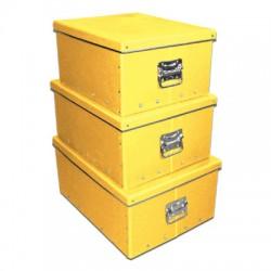 Pudełko z pokrywką i uchwytami żółte (40)