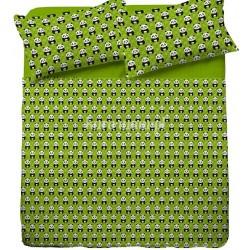 Pościel bawełniana 140x200 Miś Panda Zielona