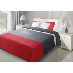 Narzuta dwustronna 170x210 Stripe czerwono szara Eurofirany