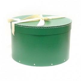 Pudełko okrągłe z kokardą ciemozielone (34)