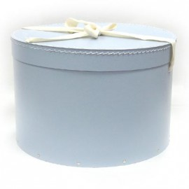 Pudełko okrągłe z kokardą - Błękitne (36)