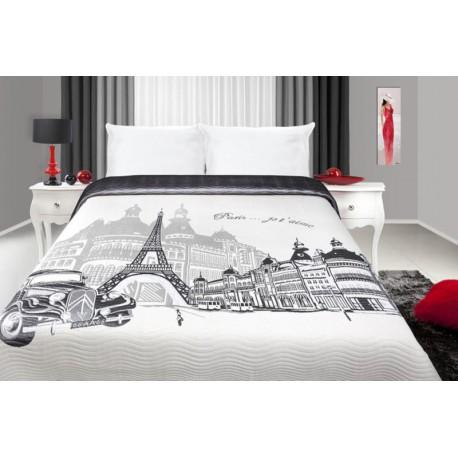 Narzuta France 220x240 Biało Stalowa Paris Eurofirany