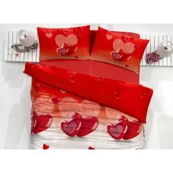 Pościel satynowa 200x220 Valentini Lovely Karmizi Faro