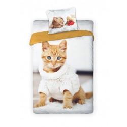 Pościel bawełniana 140x200 Kotek w sweterku Faro