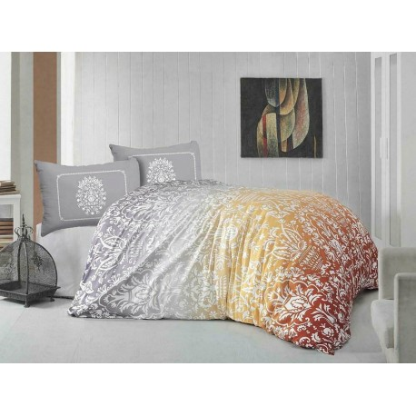 Pościel satynowa 220x200 Vizion pomarańczowa ornament Valentini Faro