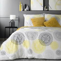 Pościel satynowa 160x200 ornamenty biała szara żółta Mistic dwustronna Eurofirany