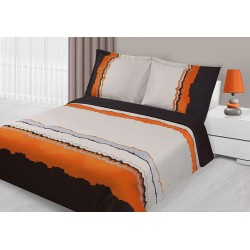 Pościel satynowa haftowana 160x200 Arte brązowo pomarańczowa Eurofirany