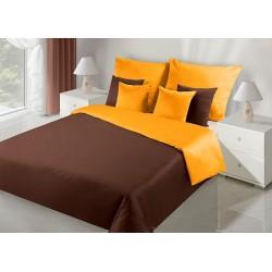 Pościel satynowa 180x200 Nova brązowa pomarańczowa Eurofirany