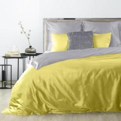 Pościel satynowa 180x200 Nova srebrna żółta Eurofirany
