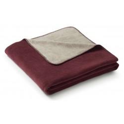 Koc bawełniany Biederlack Duo Cotton Melange Burgund Grau 150x200