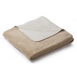 Koc bawełniany Biederlack Duo Cotton Melange Creme Natur 150x200