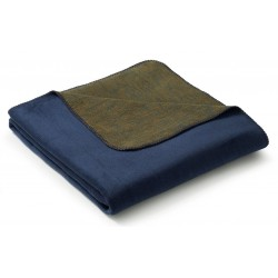Koc bawełniany Biederlack Duo Cotton Melange Dunkelblau Gold 150x200