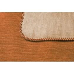 Koc bawełniany Biederlack Duo Cotton Melange Ocker Beige 150x200