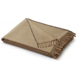 Pled bawełniany Biederlack Fransenplaid Camel 130x170