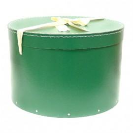 Pudełko okrągłe z kokardą - ciemnozielone (36)